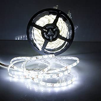 FUNXS 5M 300leds 3528 SMD 36Watts 3450-3550LM Bande de barre de lumi/ère flexible et chaude LED Blanc imperm/éable Blanc froid Luminosit/é normale DC 12V Lampes pour parasol Couleur : Blanc froid