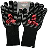 "BBQ Grilling Gloves by Grill n Chill - 932°F Extreme Heat Resistant Grill Gloves for Cooking, Oven, Barbecue - Longest (15"") for Best Fire Protection"