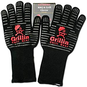 BBQ Grilling Gloves by Grill n Chill – 932°F Extreme Heat Resistant Grill Gloves for Cooking, Oven, Barbecue – Longest (15″) for Best Fire Protection