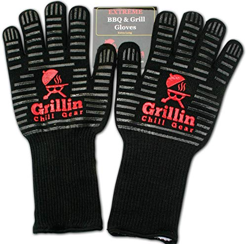 BBQ Grilling Gloves by Grill n Chill - 932°F Extreme Heat Resistant Grill Gloves for Cooking, Oven, Barbecue - Longest (15