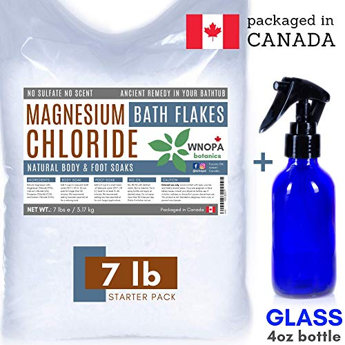 Magnesium Flakes Bulk Bath Salts 7 lb - Bonus Glass Spray Bottle for Magnesium Oil Spray - Pure Magnesium Chloride Absorbs Easier than Epsom Salts for Soaking - Packaged in Canada (7 lb) ()