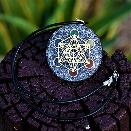 Orgone Pendant EMF Protection   Reiki Metatron's 7 Chakra Crystal   EMF Radiation Protection Orgonite Energy Pendant with Two Different Chains