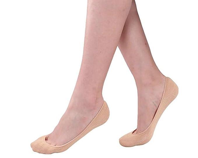 H&J 12 Pares Calcetines Mujer Invisibles,bajo Cortos Elástco Con Silicona Antideslizante (BEIG,