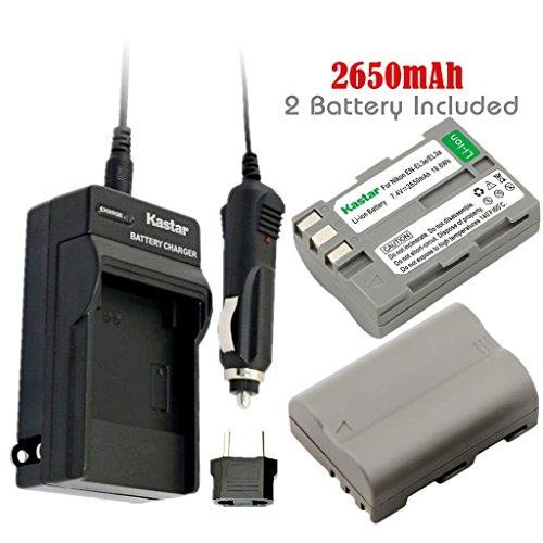 Kastar Battery (2-Pack) and Charger Kit for Nikon EN-EL3e, EN-EL3a, EN-EL3, MH-18, MH-18a work with Nikon D50, D70, D70s, D80, D90, D100, D200, D300, D300S, D700 Cameras and MB-D10, MB-D80 (Nikon Mbd10 Battery Grip)
