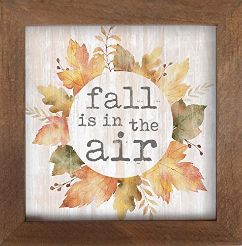 (P. GRAHAM DUNN Fall is in The Air Watercolor Leaves Wreath 7 x 7 Inch Pine Wood Framed Wall Art Plaque)