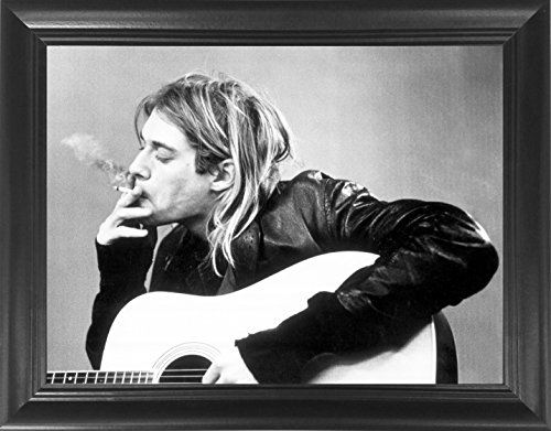 Kurt Angle Life - Kurt Cobain Smoking With Guitar Black & White Nirvana Rock & Roll Music Framed 3D Lenticular Poster - 14.5x18.5