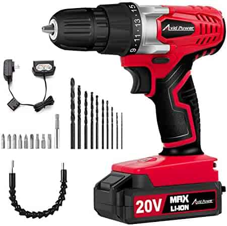 Avid Power 20V MAX Lithium Ion Cordless Drill, Power Drill Set with 3/8 inches Keyless Chuck, Variable Speed, 16 Position and 22pcs Drill/Driver Bits