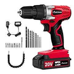 AVID POWER Cordless Drill/Driver---Your Excellent Helper for Your Various Home Projects ✥15+1 Position Clutches & Max Torque of 20N.m- provides precise control for driving in/out screws to prevent stripping, and drilling into wood, meta...