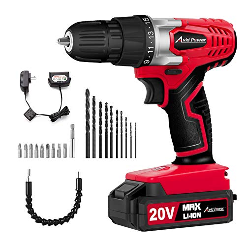 - Avid Power 20V MAX Lithium Ion Cordless Drill, Power Drill Set with 3/8 inches Keyless Chuck, Variable Speed, 16 Position and 22pcs Drill/Driver Bits