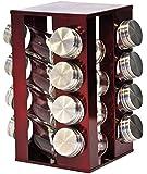 SQ Professional Gems-Portaspezie rotante, con 16 barattoli, colore: rosso rubino