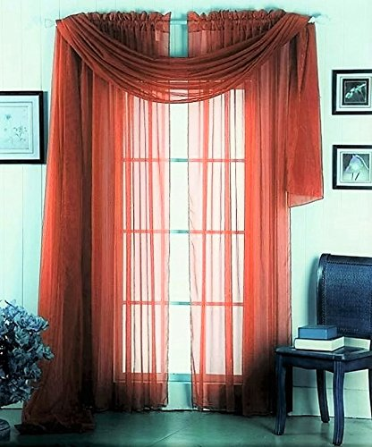 GorgeousHomeLinen 3PC Brick 2 Sheers 84″ length Rod Pocket Window Curtain Panels & 1 Elegant Swag Scarf Valance 216″ length