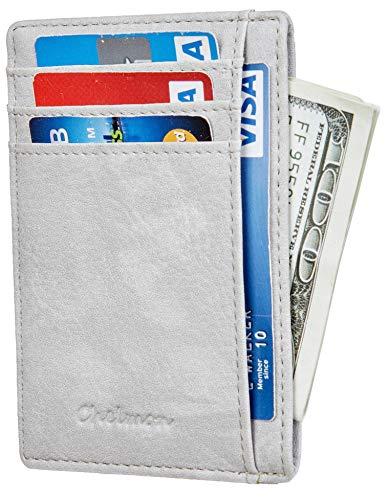 Chelmon Slim Wallet RFID Front Pocket Wallet Minimalist Secure Thin Credit Card Holder (Vinti Grey Light)