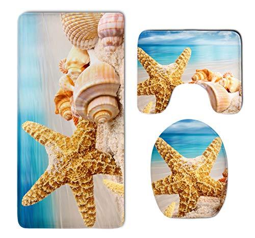 Bathroom Rug Mat Set 3 Pack - Memory Foam Plush Carpet Mats-Water -