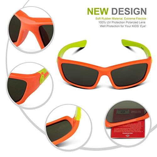 1821571e0f9 RIVBOS RBK025 Rubber Flexible Kids Polarized Sunglasses Wayfarer ...