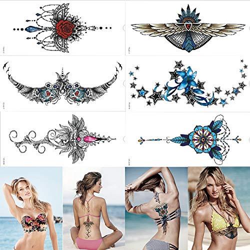 Beautiful Design Waterproof Under Breast Tattoo Ornamental Temporary Metal Tattoo Sexy Women Tattoo ()