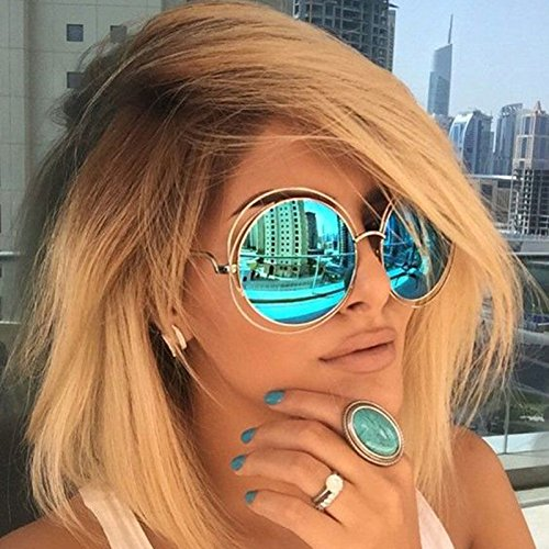 Large Round Sunglasses (XXL Halo Double Wire Oversized Big Round ROXANNE Bohemian Coachella Sunglasses Color Gold Turquoise Mirror)