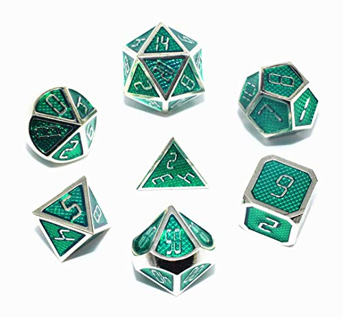 HD DND Metal Dice Set Green Grid RPG Dice for Dungeons and Dragons(D&D) Pathfinder MTG Tabletop Role Playing Game Polyhedral Metal Silver Border Enamel Dice Group ()