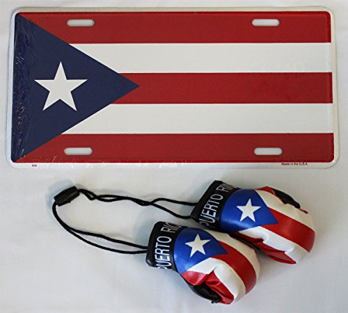 Puerto Rico - Boxing Glove and License Plate Combo
