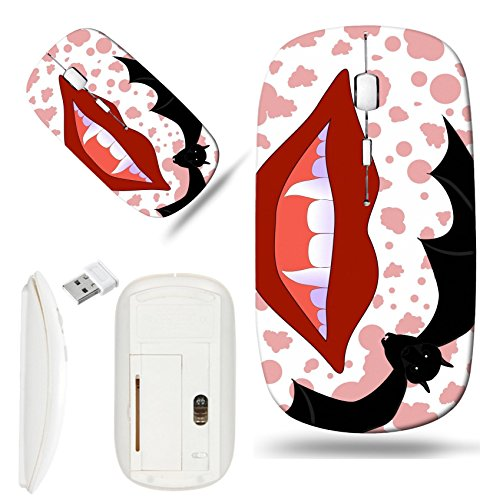 Luxlady Wireless Mouse White Base Travel 2.4G Wireless Mice with USB Receiver, 1000 DPI for notebook, pc, laptop, macdesign IMAGE ID: 32699135 Vector Halloween background with smiling vampire lips and]()
