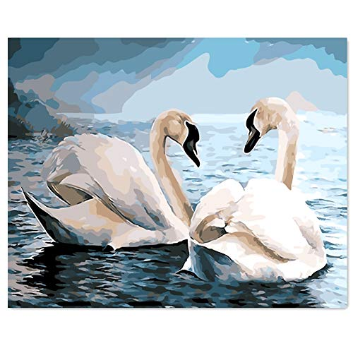 TianMai Version 3.0 HD Paint by Number Kits for Adults PBN Kit Paintworks Digital DIY Oil Painting Canvas Kits for Children Kids Beginner White Christmas Decorations Gifts - Swan (N4, Framed)