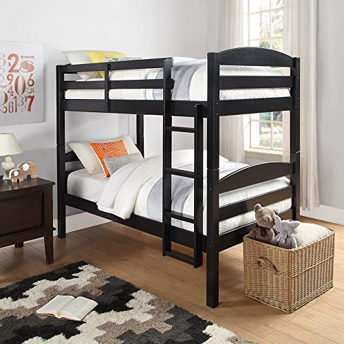 Mainstays Twin Over Twin Wood Bunk Bed (Black)