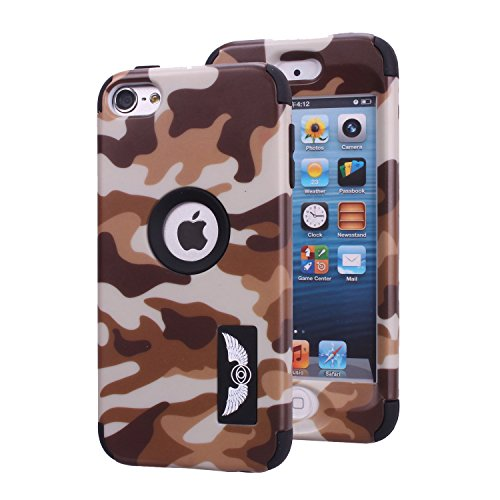 Brown Ipod Touch (iPod Touch 6 Camo Case, Harsel Dual Layer Hybrid Protective Case and Impact Resistant Drop Protection Silicone Hard Cover for Apple iPod Touch 6th Generation (Brown))