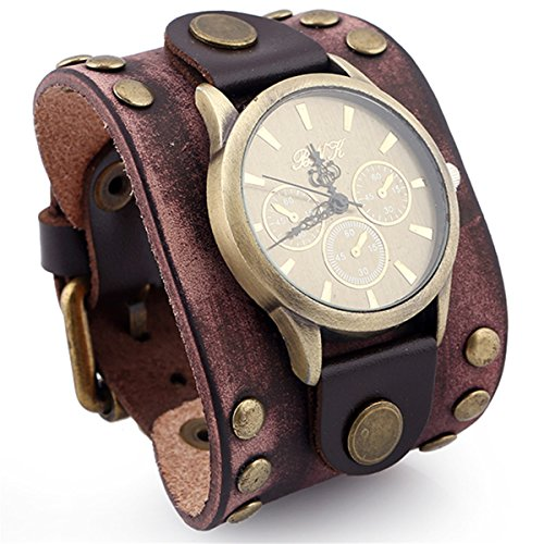 Bikers Choice Needles (Unisex Brown Leather Watch Bracelet,Metal Spike Studded Punk Rock Biker Wide Strap Leather Individuality Bangle,Good Accessories Choice for Cowboy Motor Drive Street Art)