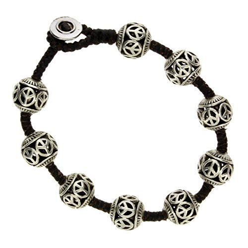 Peace Design Round Ball Silver Beaded Alloy Bracelet Waxed Linen Wristband Bali Jewelry