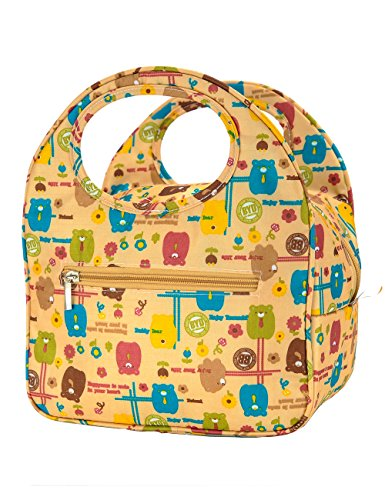 iSuperb Lovely Lunch Bag Box Tote Waterproof Cooler Bag Reusable with Adorable Animal Image Insulated Lunch Bags for Women Ladies Girls Children Kids Student Teenagers (Cute Bear Yellow) (Animal Lunch)
