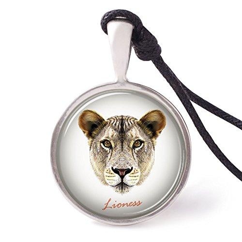 (Vietguild's Portrait of a Lioness Necklace Pendants Pewter Silver Jewelry)