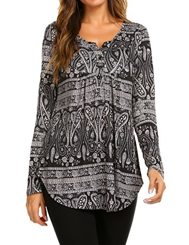 Halife Womens Long Sleeve Henley Floral Tunic Tops Loose Blouse Button up Shirts Black, XL