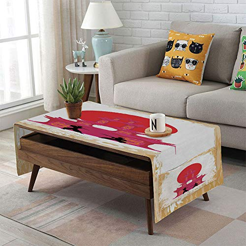 Linen Blend Tablecloth,Side Pocket Design,Rectangular Coffee Table Pad,Japanese,Medieval Battle Landscape at Sunset in Front of Temple Asian Culture Print,Red Yellow White,for Home ()
