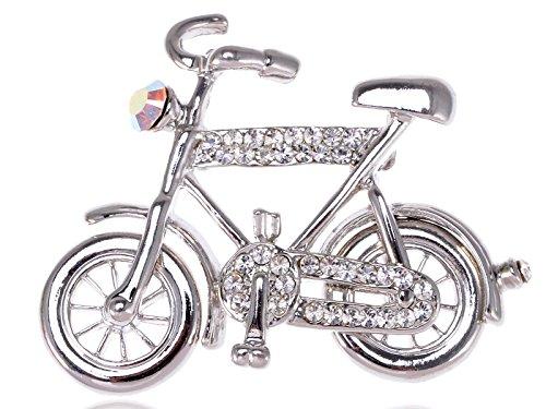 Bike Brooch Pin - Alilang Crystal Rhinestone Silvery Tone Bicycle Park Dark Tone Bike Girl Cute Pin Brooch