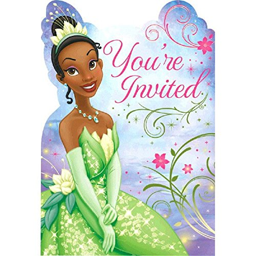 "Amscan Dazzling Disney Tiana Enchanted Birthday Party Invitation Card Supply (8 Pack), 8"" x 5"", Multicolor"
