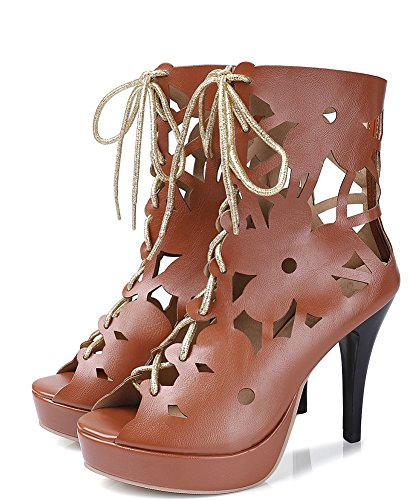 Boots Brown Women's up Hollow Out Dressy Aisun Lace Sandals SAvqww