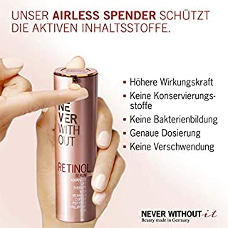RETINOL SERUM With HYALURONIC ACID + Firming Peptides + Copper + Vitamins | Tested VERY GOOD. Anti Aging Retinol Cream for Face Made in Germany
