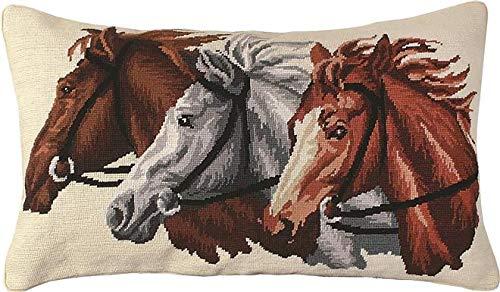 EuroLuxHome Throw Pillow Needlepoint Trio Horse 16x28 Beige Brown/Beige/Tan Wool Cott - Horse Needlepoint Pillow