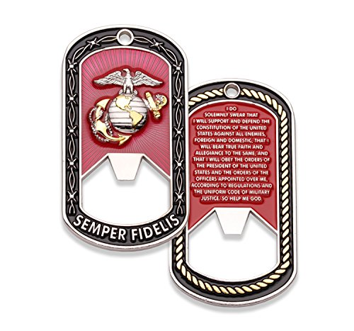 USMC Challenge Coin - Marine Corps Dog Tag Coins - Bottle Opener Coin - Designed by Marines FOR Marines - Officially Licensed Product - Coins For Anything ()