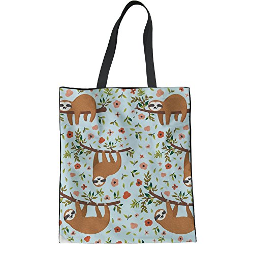 Coloranimal Bag Reusable Print Linen Womens Tote Handbag Sloth Cute Floral Westie Flower r867r