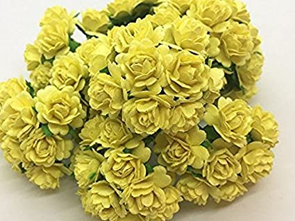 Amazon 100 pcs mini rose mixed yellow color mulberry paper 100 pcs mini rose mixed yellow color mulberry paper flower 10 mm scrapbooking wedding doll house mightylinksfo