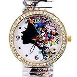 Wensltd Clearance Sale! Luxury Girl Diamond Flower Shrink Bracelet Watch