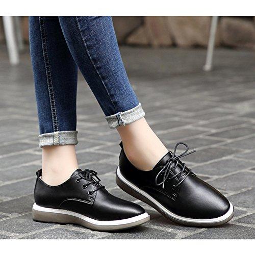 Shoes Retro up JULY Oxfords Lace Round T Comfy Women's Shoes Casual Black Platform Toe wIEngwqR6