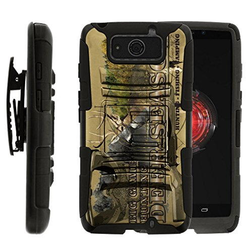 TurtleArmor | Compatible with Motorola Droid Maxx Case | Droid Ultra Case [Hyper Shock] Hard Reinforced Rugged Impact Hybrid Cover Holder Belt Clip Holster - Deer Hunting Season