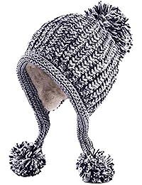Women Winter Peruvian Beanie Hat Ski Cap Fleece Lined Ear Flaps Dual Layered Pompoms
