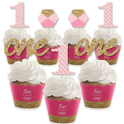 1st Birthday Girl - Fun to be One - Cupcake Decoration - First Birthday Party Cupcake Wrappers and Treat Picks Kit - Set of 24 ()