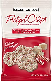 Snack Factory Pretzel Crisps Holiday Peppermint and White Chocolate Covered Pretzels, 4 Oz