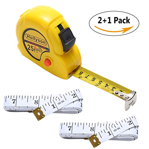 Metal Retractable Tape Measure (25 Feet Retractable Tape Measure Plus 60 Inch/Metric Measuring Tape Measurement Tape Set for Body Cloth)