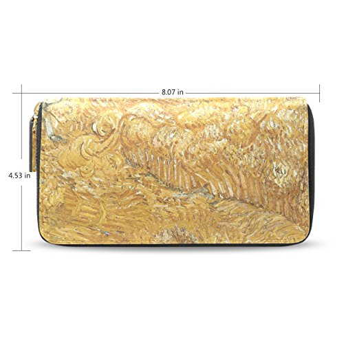 womens-wheat-fields-at-sunrise-pattern-leather-long-wallet-purse-case-card-holder