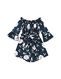 Goodtrade8 Infant Baby Girl Clothes Floral Off Shoulder Romper Long Sleeve Jumpsuit Little Kids Outfits Gifts