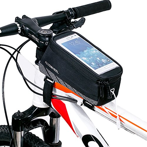 HaloVa Bicycle Frame Bag, Bike Handlebar Bag, Bicycle Front Top Tube Pannier, Cycling Frame Storage Bag Mobile Phone Screen Touch Holder for Riding Outdoor